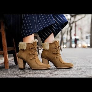 UGG Analise Lace Up Boots Chesnut Suede and Shearling